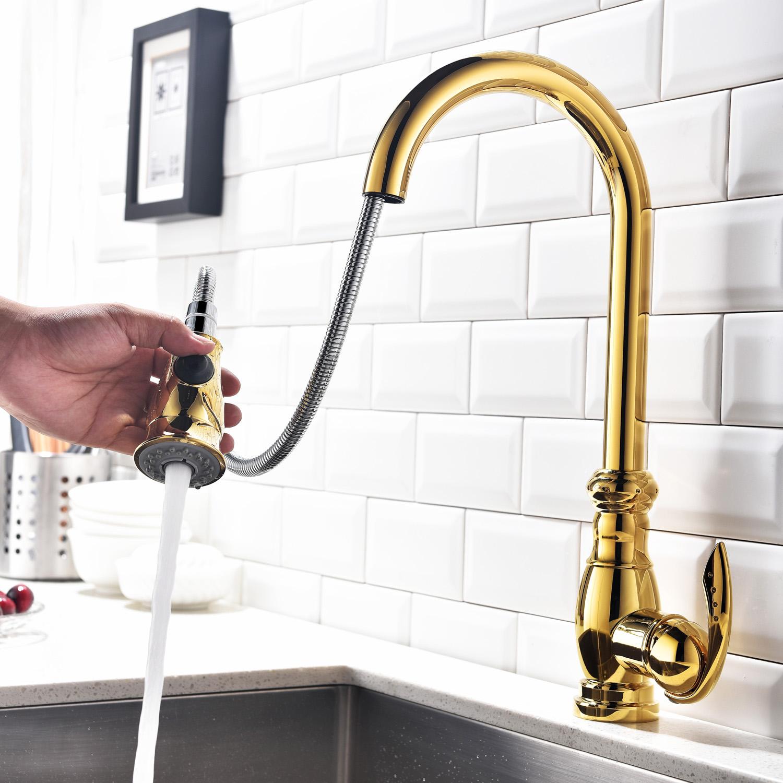 Einhand Küchenarmatur mit Audziehbrause Modern Gold