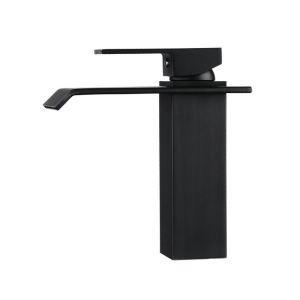(EU Lager)Moderner Wasserhahn Wasserfall Bad Einhebel Schwarz