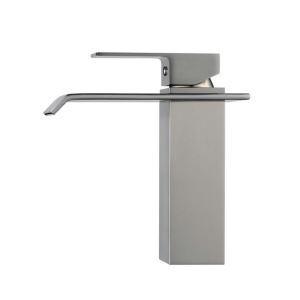 (EU Lager)Waschtischarmatur Wasserfall Einhebelmischer Bad Nickel Gebürstet