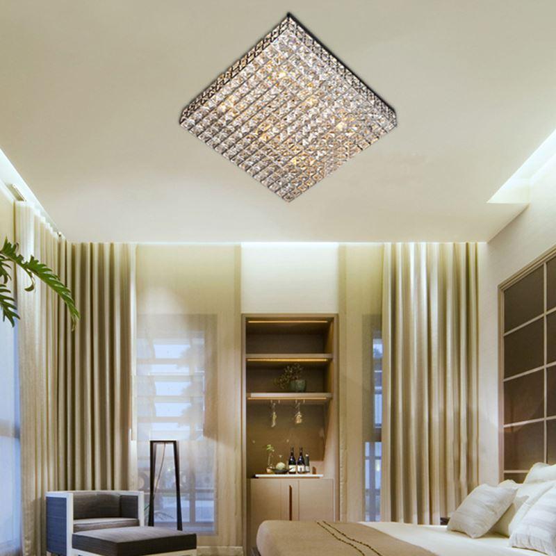 eu lager modern deckenleuchte kristall 6 flammig eckig. Black Bedroom Furniture Sets. Home Design Ideas