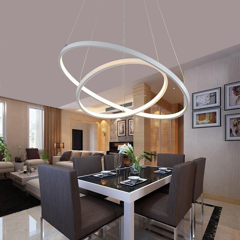 eu lager versandkostenfrei moderne h ngeleuchte led ring design aus acryl 60cm 40cm. Black Bedroom Furniture Sets. Home Design Ideas