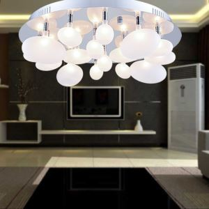 (EU Lager)Led Deckenleuchte Modern Glas Chrom Blase Design
