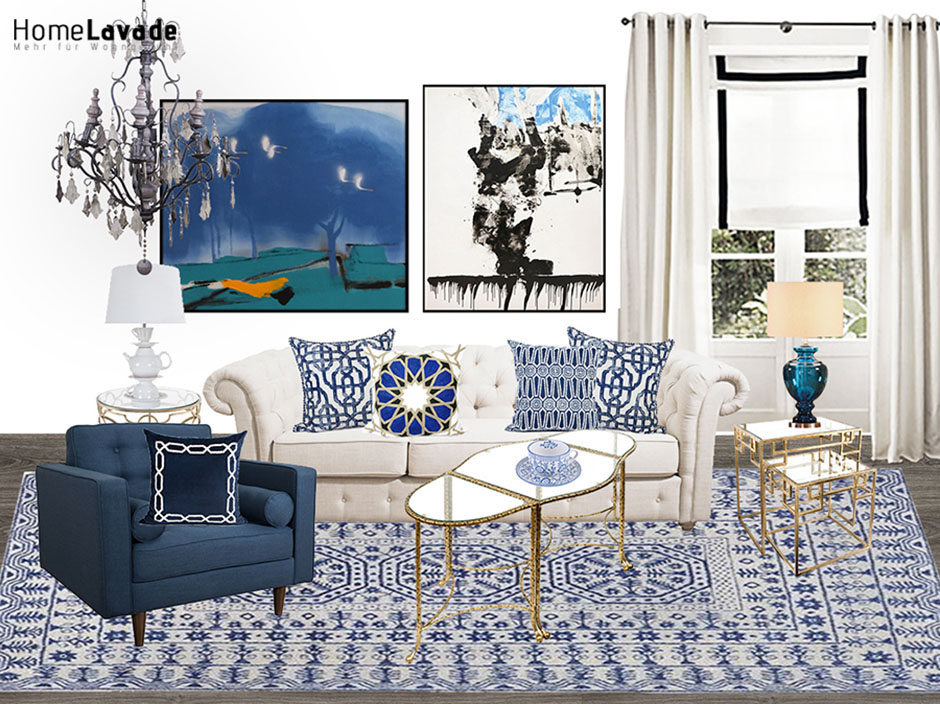 Blaue Und Weiße Porzellan Stil Wohnzimmer