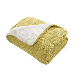 (EU Lager)Wohndecke Strickdecke Modern aus Baumwolle Gelbgrün