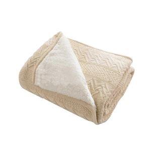 (EU Lager)Moderne Strickdecke Wohndecke aus Baumwolle Beige