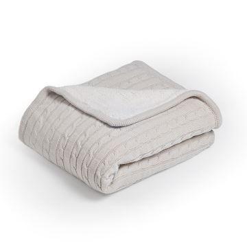 moderne dicke tagesdecke strickdecke aus baumwolle wei 120 180cm. Black Bedroom Furniture Sets. Home Design Ideas