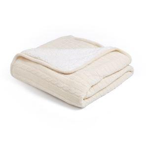 (EU Lager)Dicke Wohndecke Strickdecke Modern aus Baumwolle Beige 120*180cm