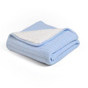 (EU Lager)Dicke Wohndecke Strickdecke Modern aus Baumwolle Azurblau 120*180cm