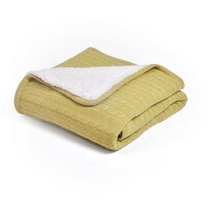 (EU Lager)Tagesdecke Strickdecke Dick Modern aus Baumwolle Hellgelb 120*180cm