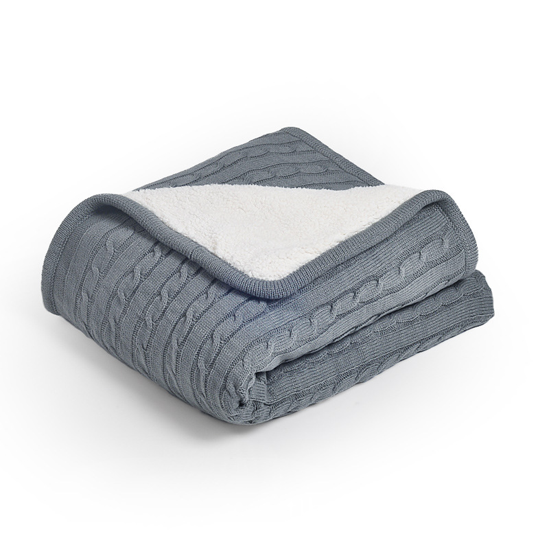 wohndecke strickdecke modern dick aus baumwolle grau 120 180cm. Black Bedroom Furniture Sets. Home Design Ideas
