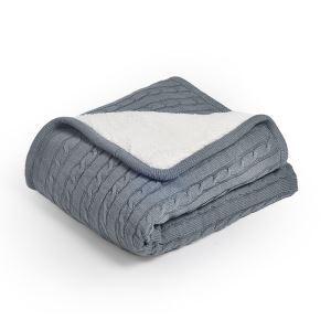 (EU Lager)Moderne Wohndecke Strickdecke aus Baumwolle Grau 150*200cm