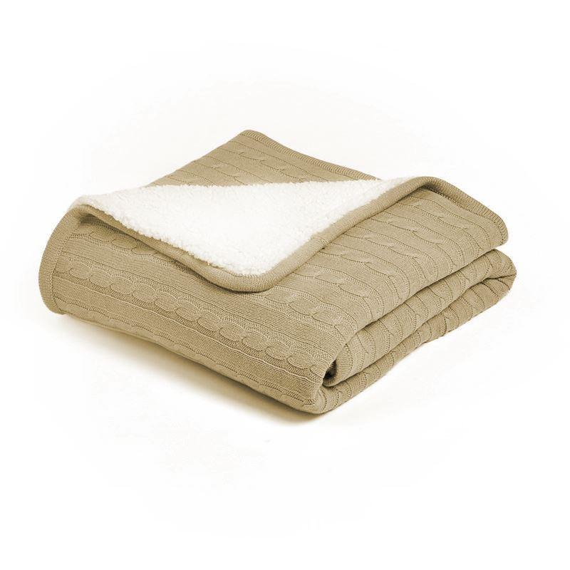 moderne wohndecke strickdecke aus baumwolle khaki 150 200cm. Black Bedroom Furniture Sets. Home Design Ideas