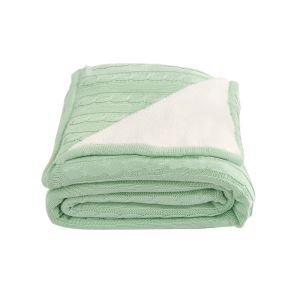 (EU Lager)Moderne Tagesdecke Strickdecke aus Baumwolle Pfefferminzgrün 150*200cm
