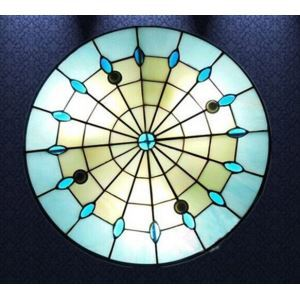 (EU Lager)Deckenleuchte aus Glas im Tiffany Stil Rund 3-Flammig