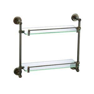 (EU Lager)Badregal Doppelt Glasablage Antik Messing Badezimmer