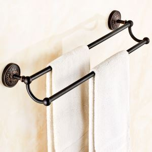 (EU Lager)Handtuchstange Doppelt Handtuchhalter Messing Schwarz