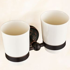(EU Lager)Doppel Zahnputzbecherhalter aus Keramik Messing Schwarz