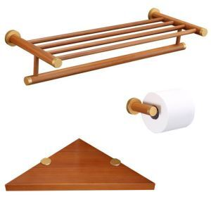 (EU Lager)Badset 3 tlg. Toilettenpapierhalter Eckablage Handtuchhalter aus Holz