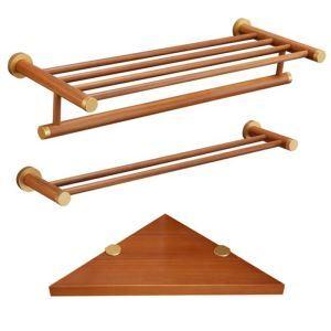 (EU Lager)Bad-Accessoires-Set-3 tlg. Aus Holz Handtuchhalter Handtuchstange Eckablage