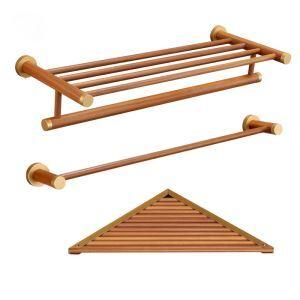 (EU Lager)3 tlg. Badset aus Holz Handtuchhalter Handtuchstange Eckablage