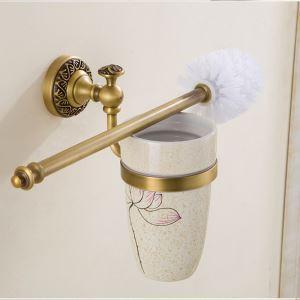(EU Lager)WC Bürstengarnitur mit Halter Antik Messing Badzubehör