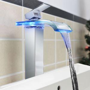 Zeige Details für (EU Lager) LED Waschtischarmatur Bad Modern Wasserfall Glas Chrom(Tall)