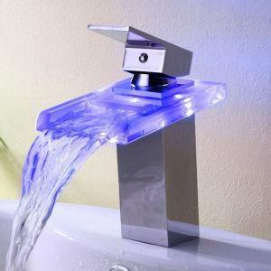 (EU Lager)LED Waschtischarmatur Bad Wasserfall Einhand Chrom