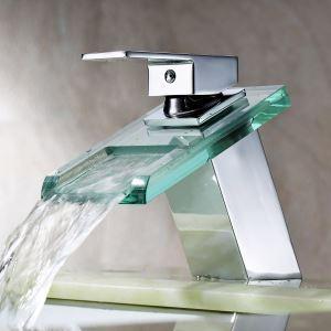 (EU Lager)Moderne Waschtischarmatur Glas Wasserfall Einhand (MS19)