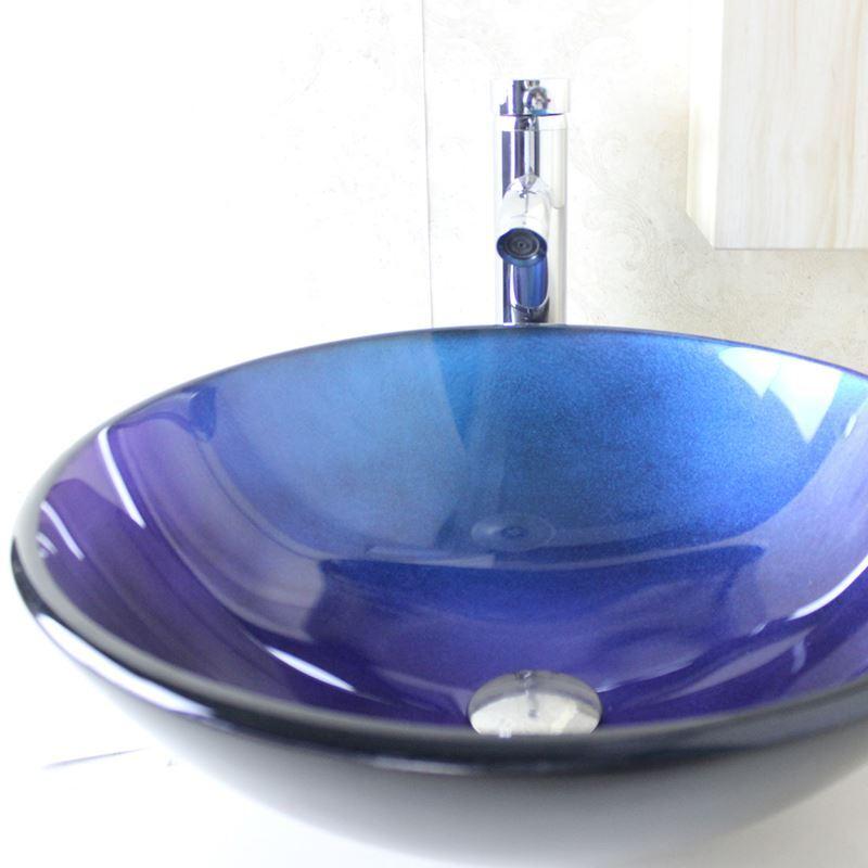 glas waschbecken set modern rund blau mit wasserhahn. Black Bedroom Furniture Sets. Home Design Ideas