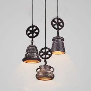 (EU Lager)Stilvolle Pendelleuchte Vintage aus Eisen Rad Design 1-Flammig