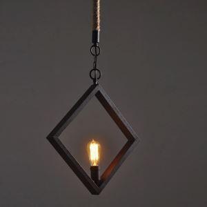 (EU Lager)Vintage Pendelleuchte aus Eisen Raute Design Schwarz 1-Flammig