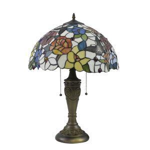 (EU Lager)Tiffany Tischleuchte Floral und Schmetterling Design Glas Schirm