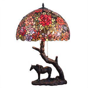 (EU Lager)Farbenfrohe Tischleuchte Tiffany Stil mit Pferde Design Gestell Glas Schirm