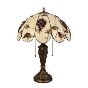 (EU Lager)Elegante Tischleuchte Tiffany Stil Weintraube Design Glas Schirm in 40cm Durchmesser