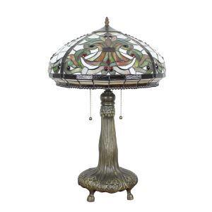 (EU Lager)Anmutige Tischleuchte Tiffany Stil Glas Schirm im Schlafzimmer