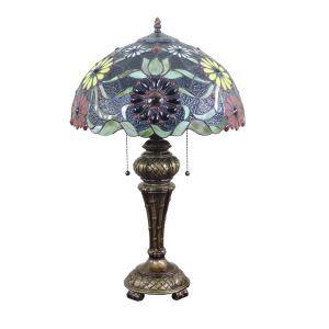 (EU Lager)40cm Tiffany Tischleuchte Floral Design Glas Schirm im Wohnzimmer
