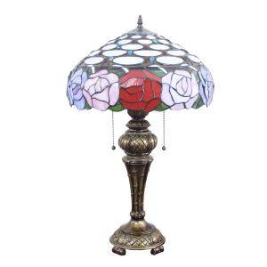(EU Lager)Floral Vermusterte Tischleuchte Tiffany Stil Glas Schirm im Schlafzimmer
