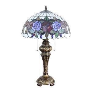 (EU Lager)Klassische Tischleuchte im Tiffany Stil Floral Design Glas Schirm
