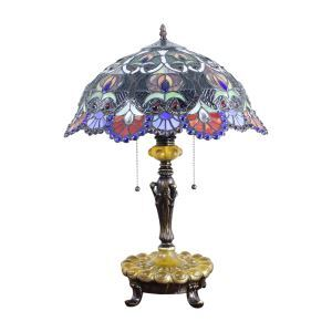 (EU Lager)Reizende Tischleuchte Tiffany Stil Glas Schirm in 40cm Durchmesser