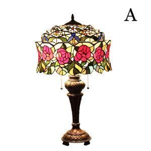 (EU Lager)Aufwendige Tischleuchte Tiffany Stil Floral Design Glas Schirm im Wohnzimmer
