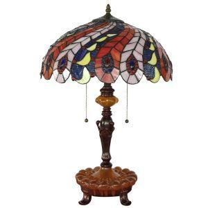 (EU Lager)Tiffany Tischleuchte Feder Design Glas Schirm mit 40cm Durchmesser