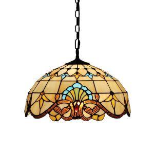 (EU Lager)Paradiesische Pendelleuchte Tiffany Stil Glas Schirm im Esszimmer