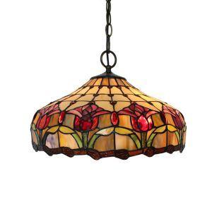 (EU Lager)Außergewöhnliche Pendelleuchte Tiffany Stil Floral Design Glas Schirm im Schlafzimmer
