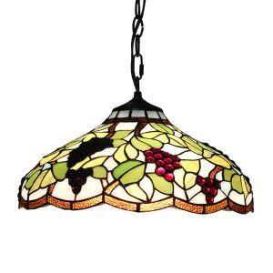 (EU Lager)Tiffany Pendelleuchte Weintraube Design Glas Schirm im Schlafzimmer