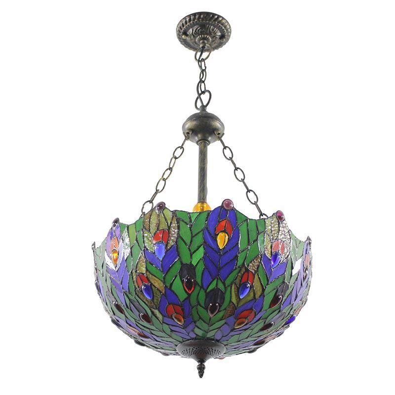 Tiffany Hängeleuchte Blätter Design Glas Schirm in Küche