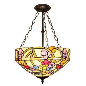 (EU Lager)Blumige Hängeleuchte Tiffany Stil Glas Schirm in Küche
