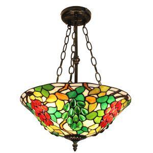(EU Lager)Farbenfrohe Hängeleuchte Tiffany Stil Weintraube Design Glas Schirm