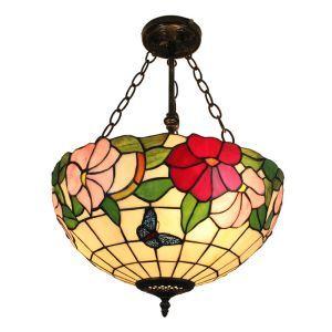 (EU Lager)Reizende Hängeleuchte Tiffany Stil Floral Design Glas Schirm