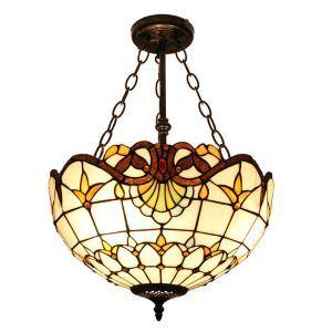 (EU Lager)Stilvolle Hängeleuchte Tiffany Stil Glas Schirm in 40cm Durchmesser