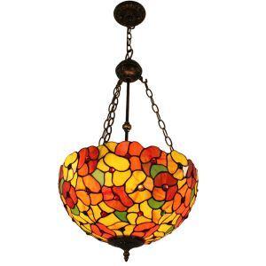 (EU Lager)Floral Verzierte Hängeleuchte Tiffany Stil Glas Schirm in Küche